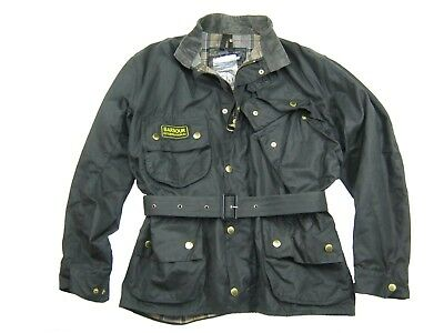 Mens BARBOUR INTERNATIONAL Original Classic Cotton Wax Jacket A7 Black Size M L