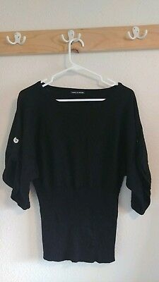 Cable And Gauge Black Sweater With Red Roses Womens Size Xl 799