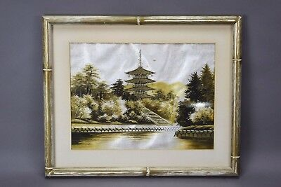 Antique Japanese Asian Gold Embroidered Needlepoint Pagoda River Framed