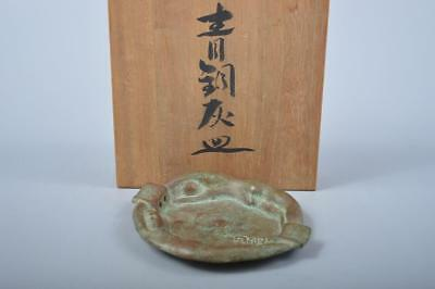 K1835:Japanese Casting copper Woman sculpture ASHTRAY Smoking tool w/signed box