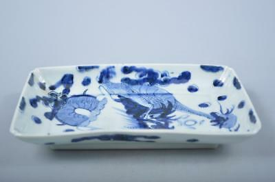 K1821: Japanese Old Imari-ware Blue&White Cloud Dragon pattern PLATE/dish