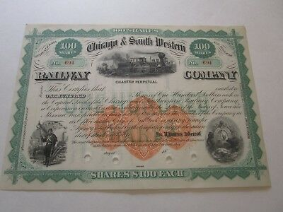 Chicago & Smith Western Railway Co. Stock Certificate 1870s Very Good