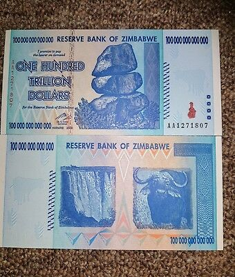 Zimbabwe $100,000,000,000,000 (100 Trillion) Absolute Unc. Getting Rare Now