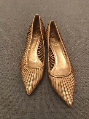 GUCCI Copper Bronze  METALLIC PUMPS Court Kitten HEELS SHOES 37.5 UK 4.5 Loafer