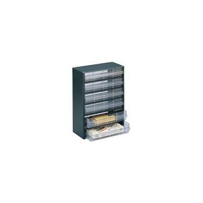 324223 , Storage Cabinet Clear 6 Drawer System Dark Grey , H420xW307xD150mm