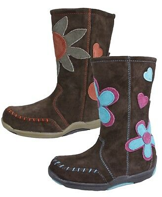 Hush Puppies Girls Brown Suede Leather Boots Knee High Floral Riding Winter Shoe