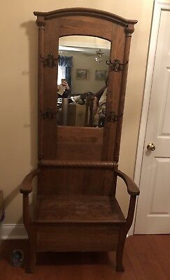 "Vintage Victorian Oak Hall Tree Rack Mirror W storage seat 1850""s? STUNNING"