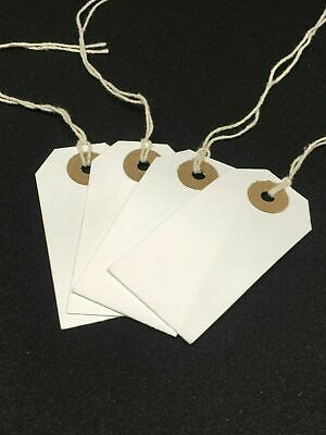 White Strung Tie On Tags String Luggage Labels Wedding Craft Gifts 120 x 60mm