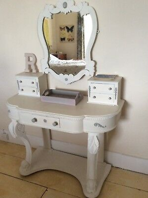 Vintage ornate French style  shabby chic dressing table & mirror...ex.condition.