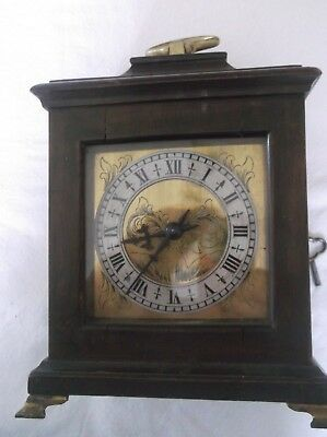 """ANTIQUE BRACKET CLOCK MOVEMENT AND BRASS FACE exactly as per the photos 9.5""""high"""