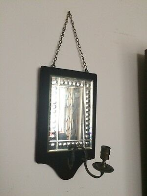 Velvet framed Victorian beveled mirror with candle sconce and chain