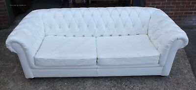 Victorian antique style white leather button back Chesterfield bed settee sofa