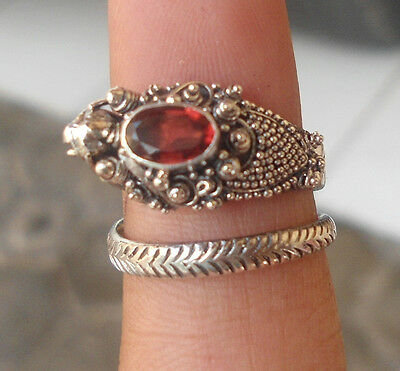 5X 925 Sterling Silver Balinese Dragon Ring Free Size With Garnet Cut-RD001