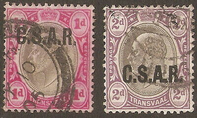 1902  Transvaal.    Both Good To Fine Used   Ovp. C.s.a.r. For Railway Use.