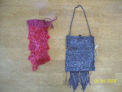 Lot of 2 Vintage women's  beaded purse, 1920s Art Deco style repair or parts