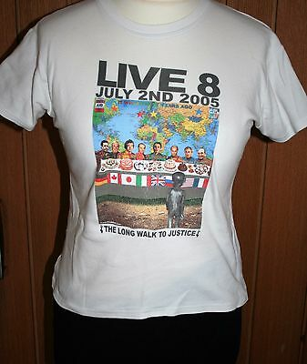 LIVE 8 T-shirt July 2nd 2005 THE LONG WALK TO JUSTICE Med. White Various Artists
