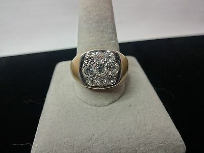18 KGE men's 9 crystal cluster brushed gold ring size 12 7/8 in VG condition