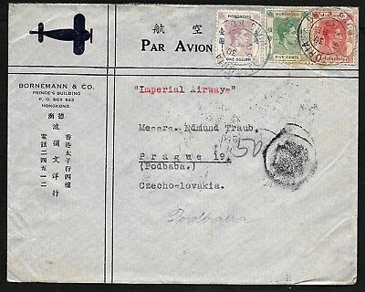 Hong Kong Airmail Flight Cover via Imperial Airways to Czechoslovakia 1939