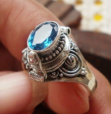 10 x 925 Silver-LK67-Balinese Poison/Pill/Wish Ring With Blue Sapphire mixe size