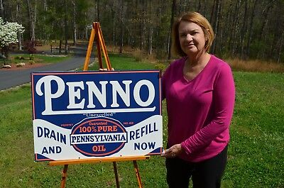 """Old Style Penno """"drain & Refill Now"""" Motor Oil Real Porcelain Sign Dead Mint"""