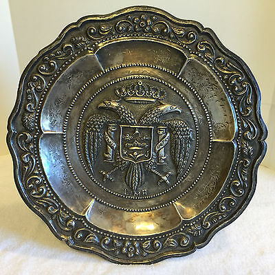 """Old Lima Peru Handmade Sterling Silver 925 charger plate 16"""" 1/2"""""""