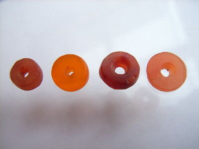 4 Ancient Neolithic Carnelian Beads, Stone Age, VERY RARE!  TOP !!