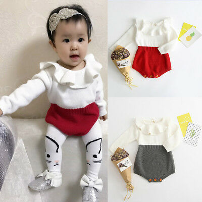Kids Girls Baby Knitted Sweater Winter Princess Romper Jumpsuit Clothes Simple