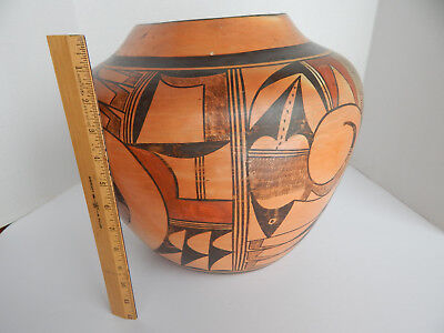 Large Antique Hopi Indian Olla Pottery-- Figure Signature--13'' High--15'' D.