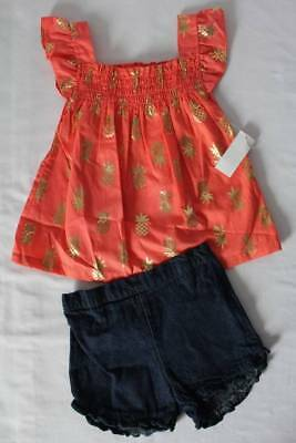 NEW Toddler Girls 2 pc Outfit Size 2T Smocked Tank Top Bloomers Set Peach Shirt
