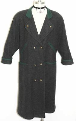LODENFREY ~ BLACK ~ WOOL Women Austria WINTER Warm Trench Over COAT / 36 16 L