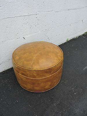 Mid Century Modern Round Ottoman Footstool with a Fabric Cover 7104