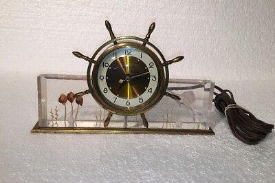 Antique Salem Nautical Ship Wheel Mahogany Electric Clock Hartford,CT Boat