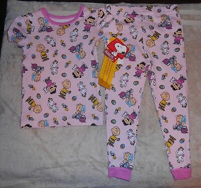 Peanuts Snoopy Easter Pajamas Pink Girl Two Piece Size 4T Nwt New!