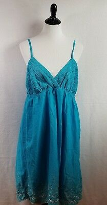 Raviya Plus Size Sundress Cover-Up 1X Blue Crochet Bust Silver Embroidery NWT