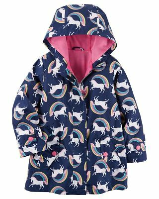 New Carter's Girls Navy Raincoat Jacket NWT 2t 3t 4t 5 6 7 8 Rainbows Unicorns