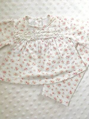 Baby Girl 0-3 Months Little White Company Pyjamas White Floral Outfit