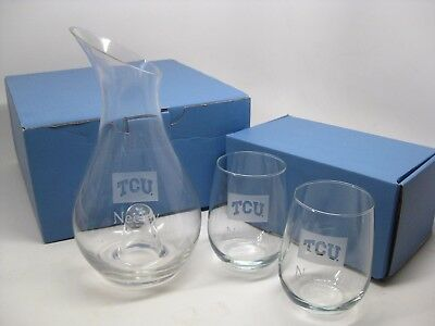 NEW Etched Crystal Glass TCU Pitcher & Wine Glasses Neeley School of Business