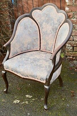 Vintage Antique French Louis XV Style Mahogany Bedroom Cocktail Tub Chair