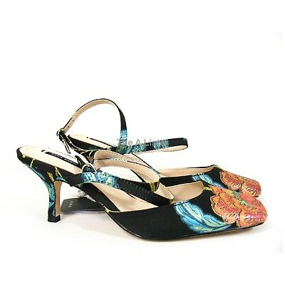 a4ce7c8d4b2e9 Zara Black Multi Embroidered Kitten Heel Ankle Strap Shoes Sandals Size 4  New