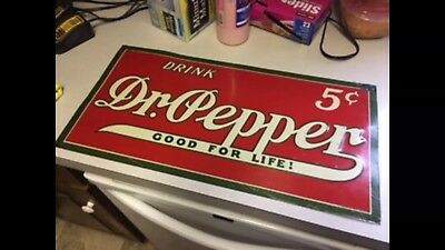 Very Very Rare 5c Dr Pepper tin Sign