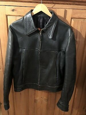 Vintage 60s 70s KETT leather Jacket Rare Size 42 Zip Up Trucker