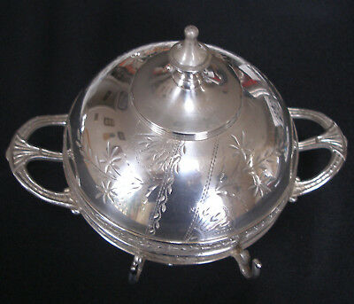 Wm. Rogers & Son Covered Round Butter Dish with insert ~ silver plate