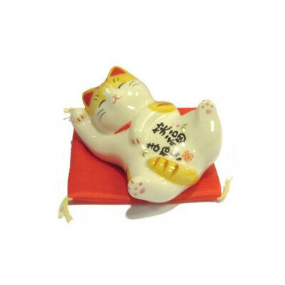 Chat Japonais 84mm  calin sur le dos Maneki Neko porcelaine Made in Japan 40593