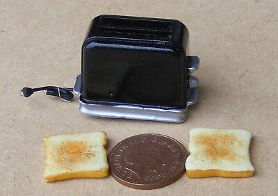 1:12 Scale Pop Up Black Toaster And 2 Bread Slices Dolls House Kitchen Accessory