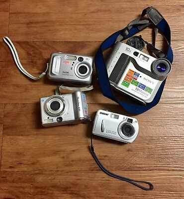 Digital Camera Lot Of 4 Canon Sony Cybershot Kodak 3 For Parts 1 Working Camera