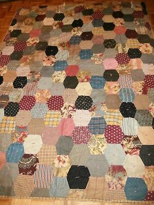 "Antique Honeycomb pattern tied cutter quilt 70"" x 86"" Primitive crafting"