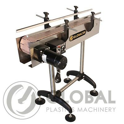 """Globaltek S.S 4' x 4.5"""" Inline Conveyor with Dual Post Legs and Transfer Plates"""