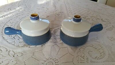 Two Denby Chatsworth Lidded Soup Bowls With Handle