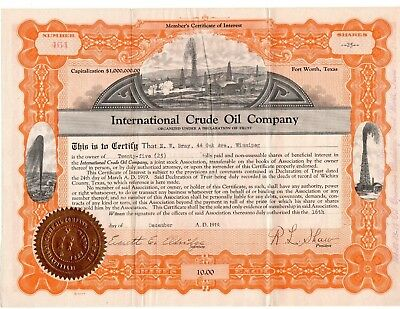 International Crude Oil Co. Stock Certificate Fort Worth Texas 1919