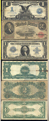Lot Of 3 Large Size Notes- 1899 $1.00- 1917 $2.00- 1923 $1.00- No Reserve